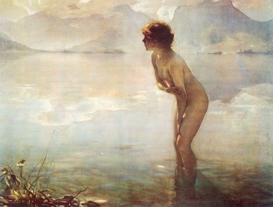 histoire de l'art analyse de tableaux et peinture classique française et européenne , peintre emile chabas peinture romantique , femme nue dans l'eau timide , femme enfant naïades sirènes tableaux images romantiques féériques