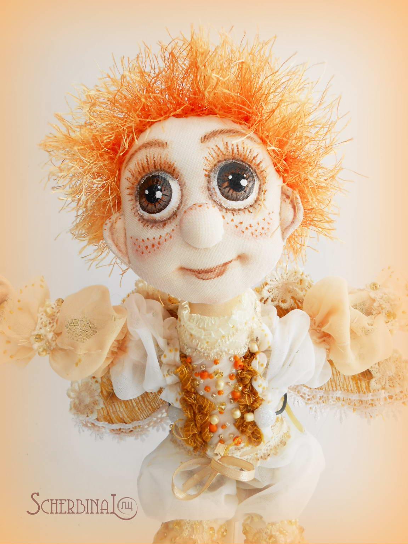 текстильная шарнирная кукла Маленький Ангел, ручная работа, бохо