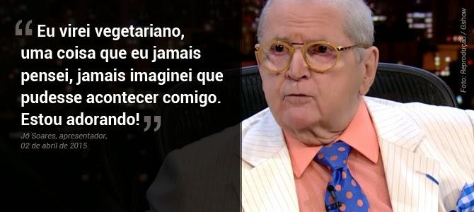 Jô Soares diz que é vegetariano durante entrevista e garante que está adorando a escolha