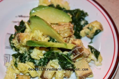 Eclectic Red Barn: Scrambled eggs with tofu, kale and avocado