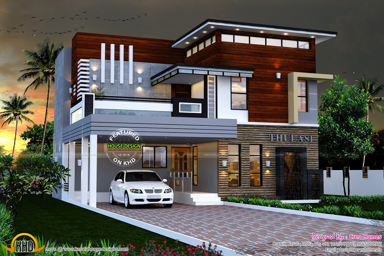 house designer. Kerala contemporary home design photo  Facilities in this house September 2015 and floor plans