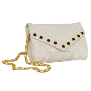 Vintage 1990's white leather Chanel envelope bag with gem inlayed details and gold chain strap.