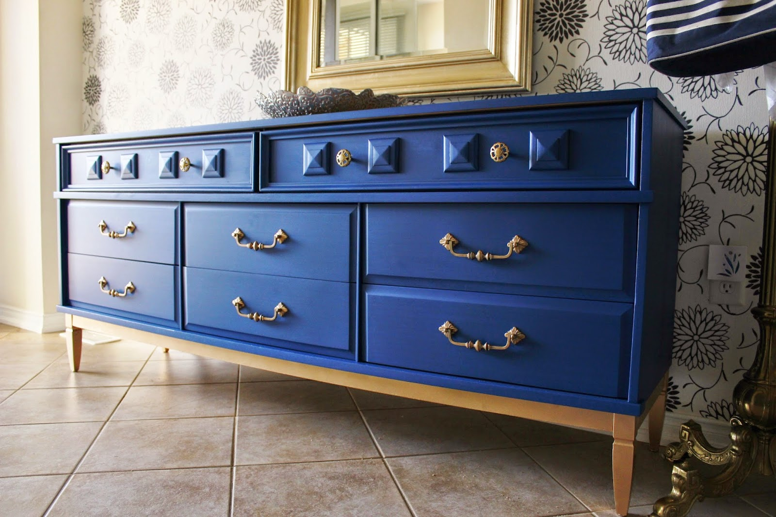 Re Tiqued By Rae Bond Blue And Gold Dresser With Sticky