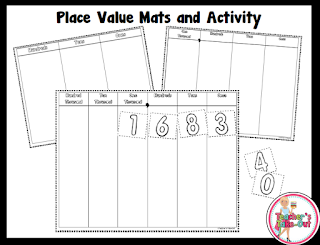 Free Place Value Mats black and white