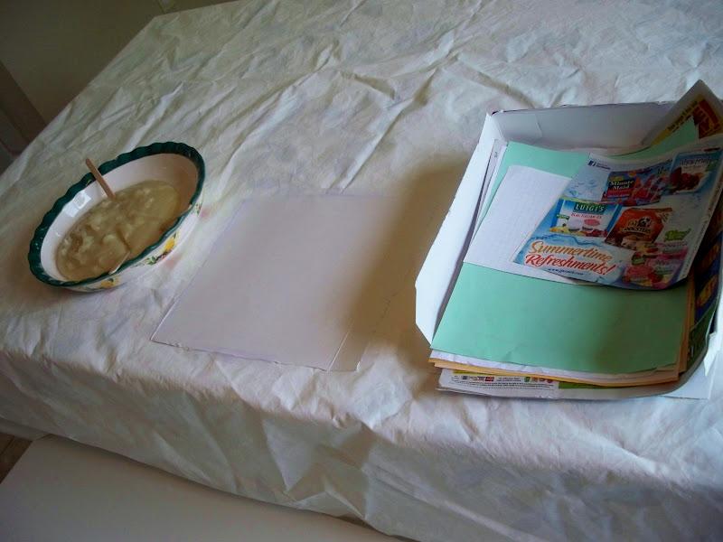paste paper scraps and cardboard