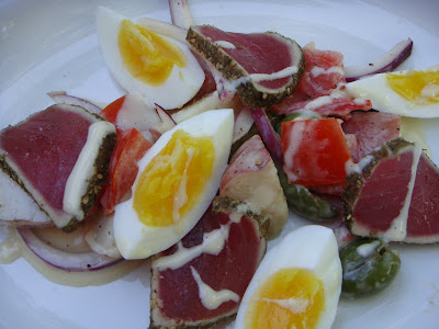 Deconstructed tuna and potato salad at Oleana, Cambridge, Mass.