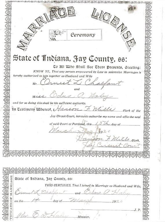 marriage license & return: ernest l. chalfant to edna a. haley, 1920