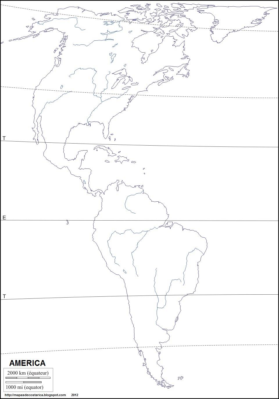 Mapa Mudo America Norte Rios