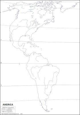 Mapa mudo de America, rios mas importantes