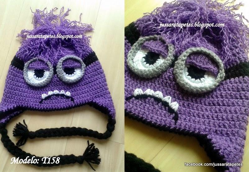 Tapete Minions De Croche : Jussara tapetes: Touca do Minion roxo Evil (Meu malvado preferido
