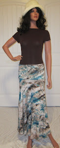 Sister Jersery Knit Maxi Skirt in Tourqouise and Brown with Tourquoise sequins