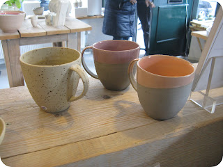 Nice mix of stoneware cafe cups with ear - orange lilac and yellow