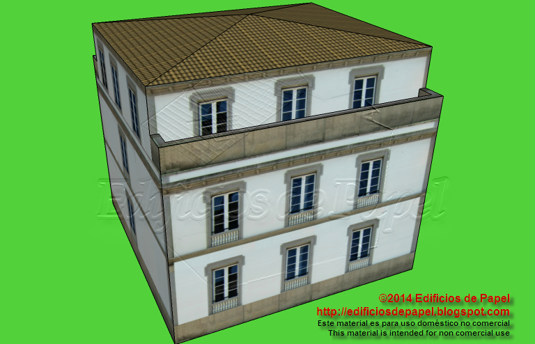 Paper model of a Galician country house