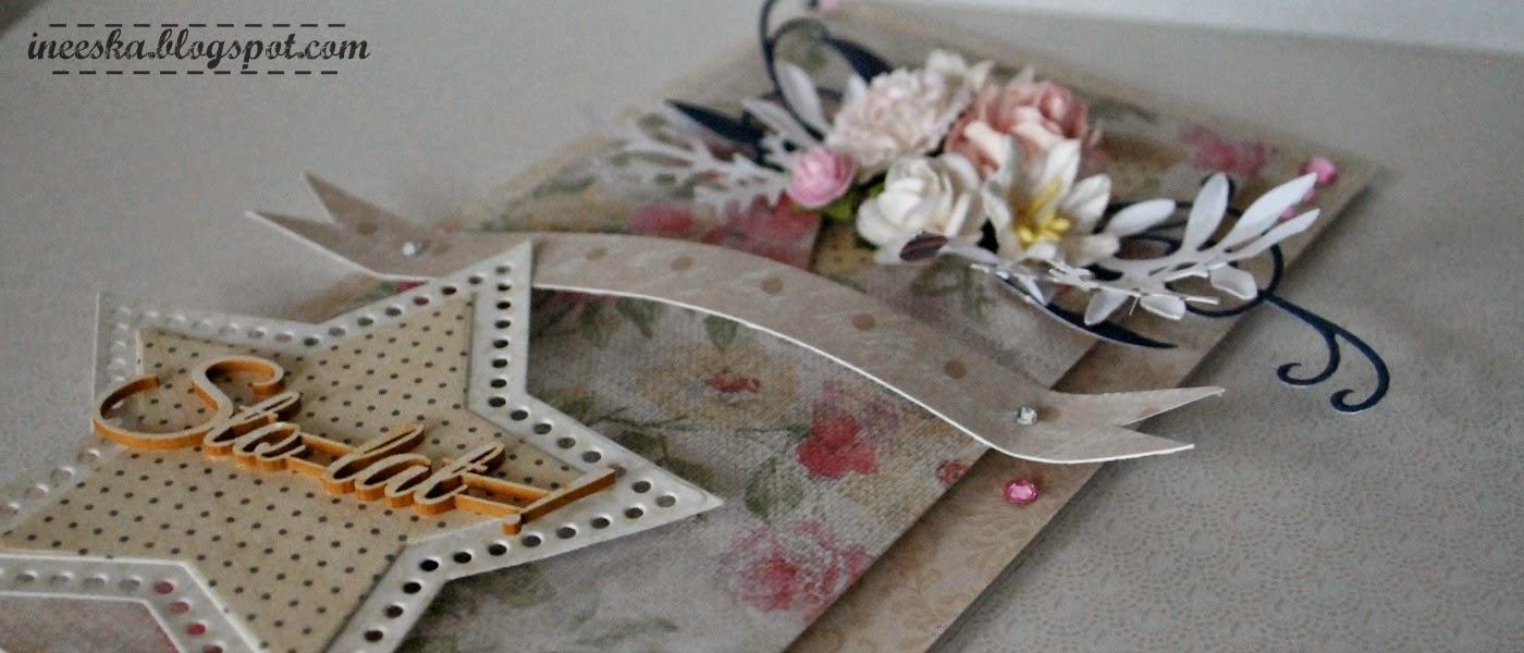 Kartka urodziny, pastelowe kwiaty, ineeska craft, ineska kraft