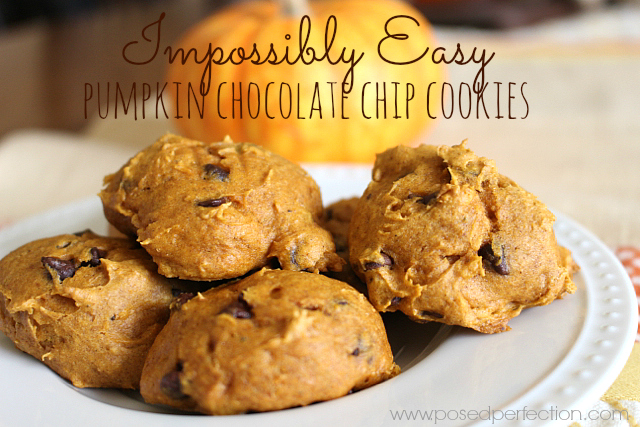 These 4-Ingredient Pumpkin Chocolate Chip Cookies are such an easy way to kick off Fall! Bring them to your next gathering!