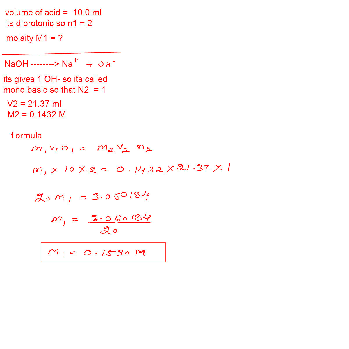 online mathematics and chemistry help q the titration of 10 00 ml q the titration of 10 00 ml of a diprotic acid solution of unknown concentration requires 21 37 ml of a 0 1432 m naoh solution what is the concentration of