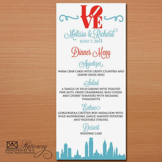 Philadelphia Wedding Menus by Designed By M.E. Stationery