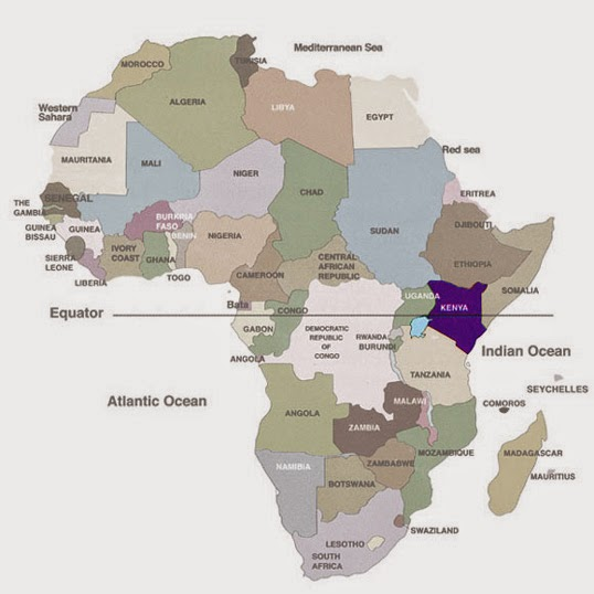 Free printable political map of Africa with the equator marked. Kenya is highlighted
