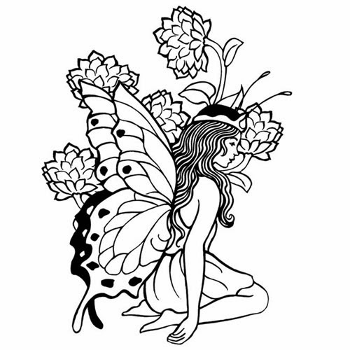 Free printable tattoo stencils tattoo design gallery for Flower fairy coloring pages