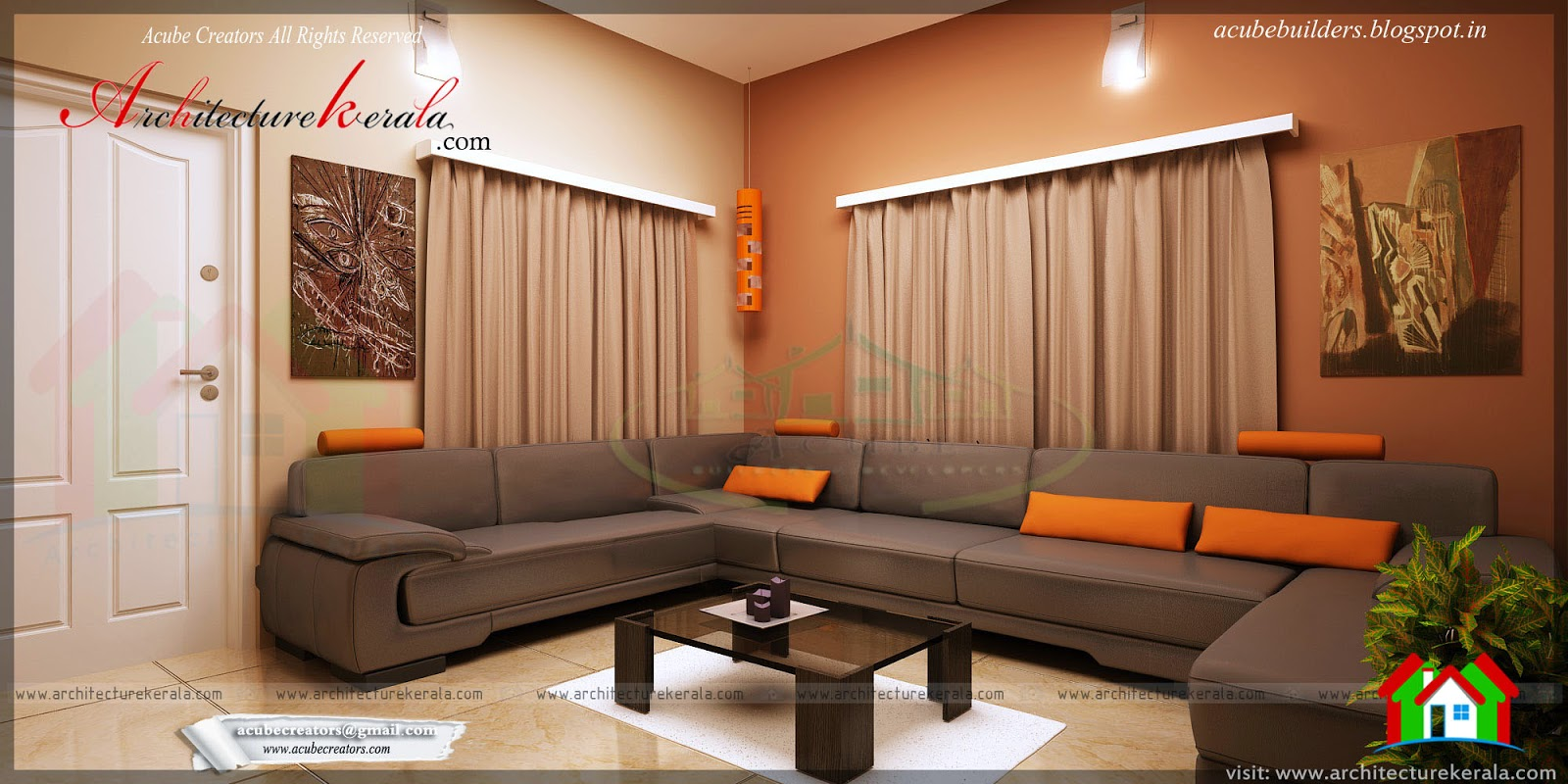 Drawing room interior design architecture kerala Room sketches interior design