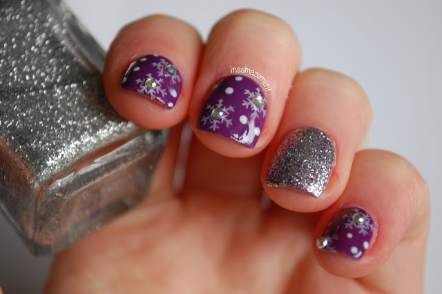 Purple Snowflake Nail Art Tutorial