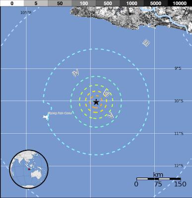 Fuerte terremoto de 6,7 grados ocurrió cerca de las Islas Christmass, al sur de Java, Indonesia el 13 de junio de 2013 a las 16:47 UTC