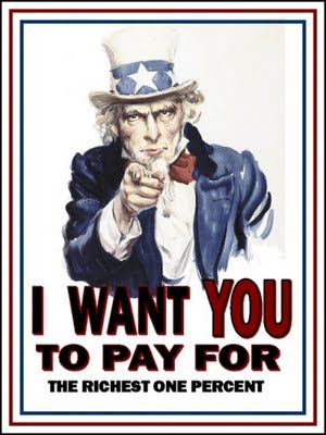 Uncle Sam poster - 'I want you to pay for the richest one percent'