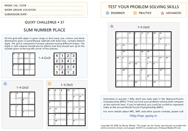 SUM NUMBER PLACE or Killer Sudoku Puzzles