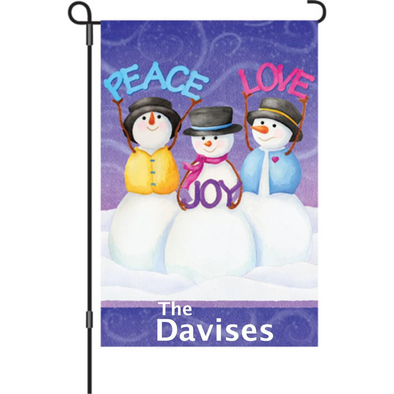 Peace Love Joy Snowman Garden Flag
