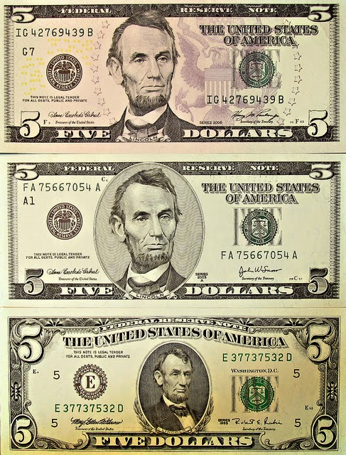 three versions of the Five dollar bill with Abraham lincoln