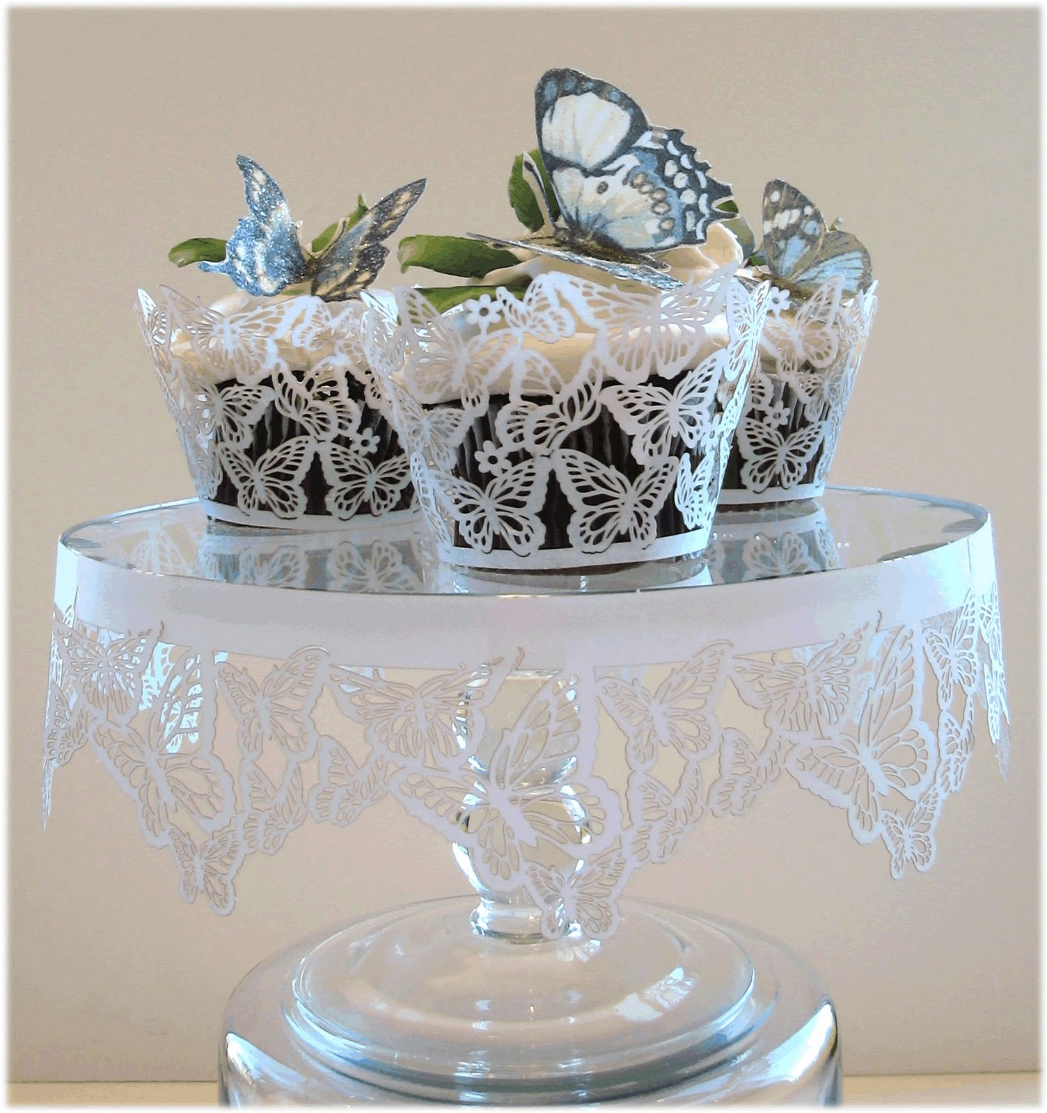 cupcake stand with a butterfly theme