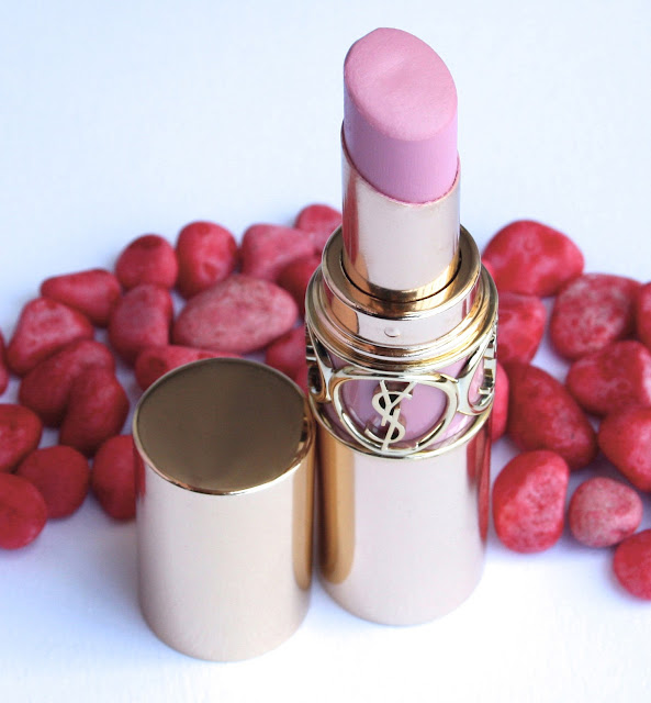 YSL Rouge Volupte Lipstick in #7 Lingerie Pink