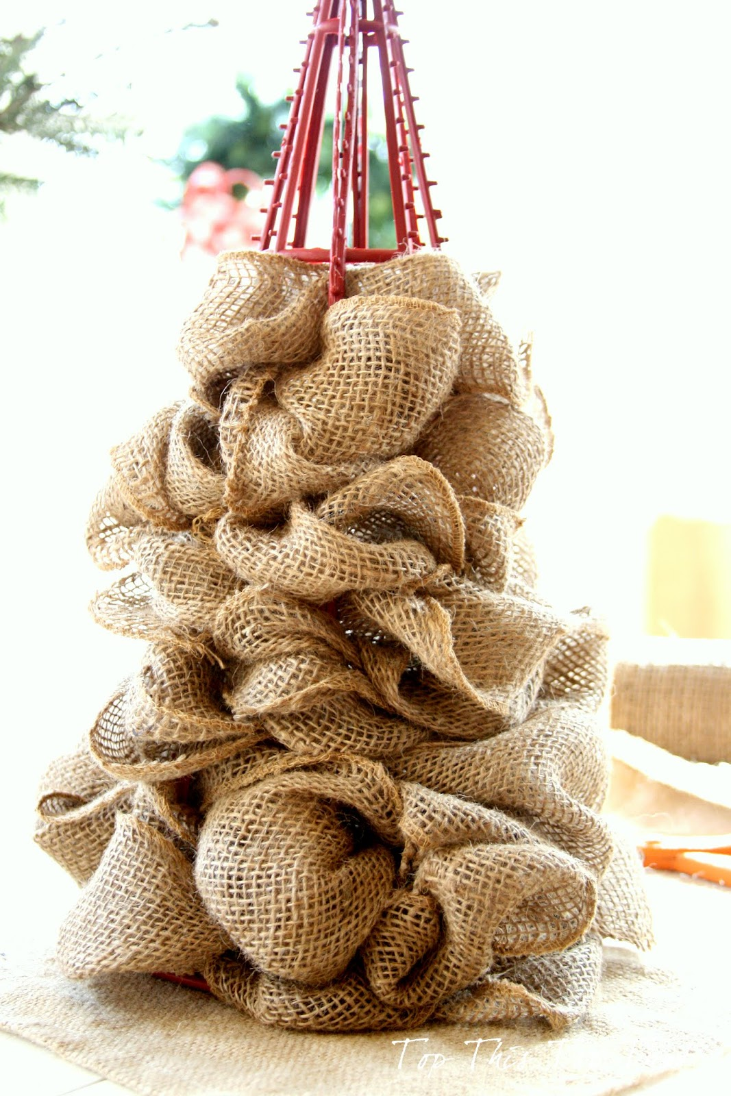 Diy burlap tree 2 duke manor farm for Crafts made with burlap