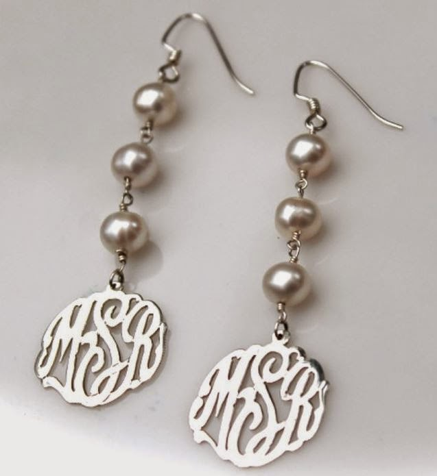 silver drop beaded earrings