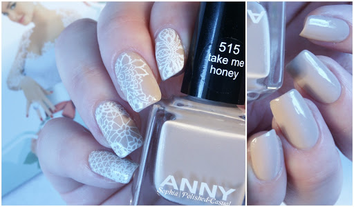 Nude Nails with Lace Stamping