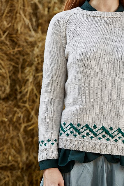 Amelia colourwork raglan sweater pattern by Katya Frankel for Yarn Stories