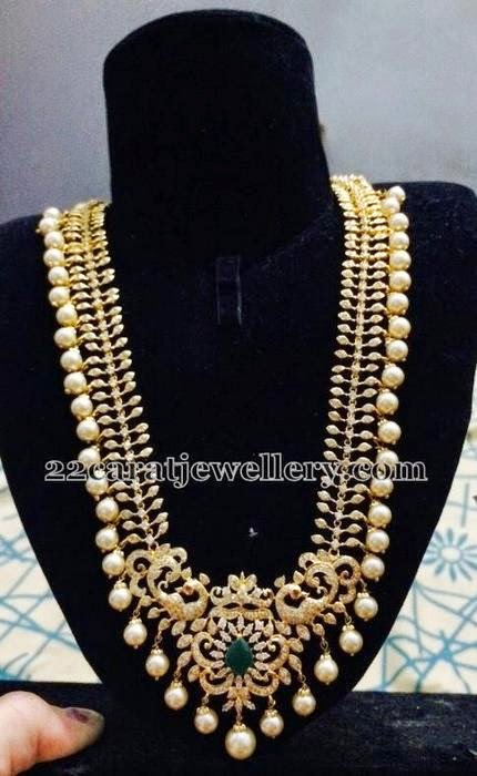 Latest 1gram Gold Pearls Hanging Set