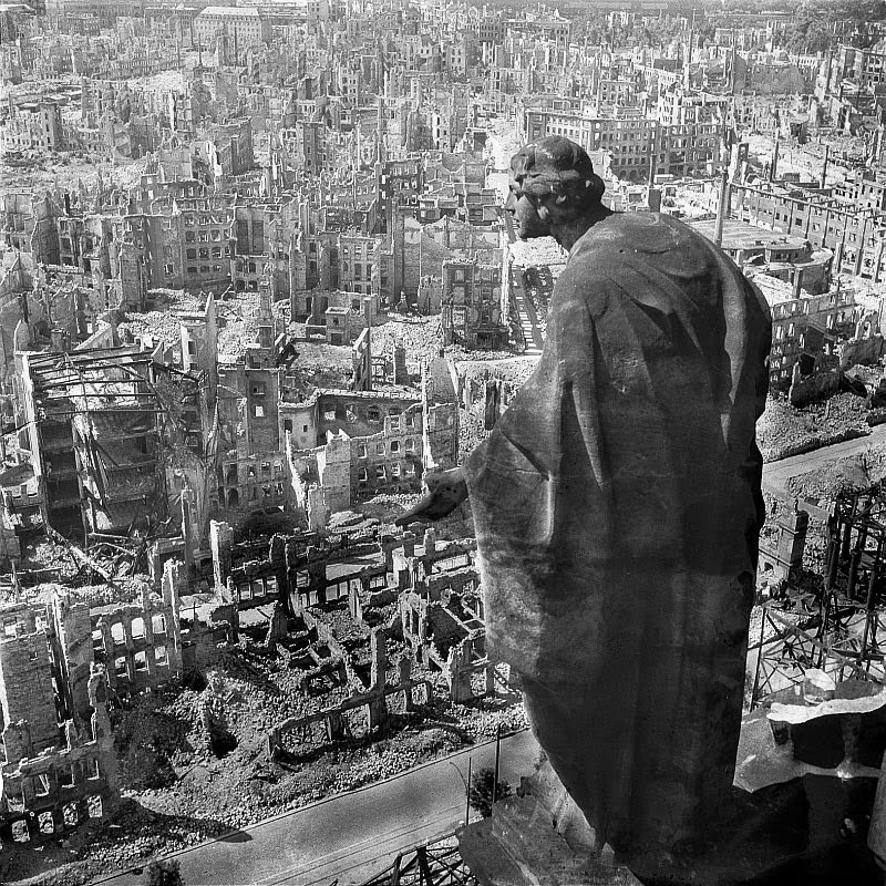 Dresden in ruins after Allied bombings, February 1945.