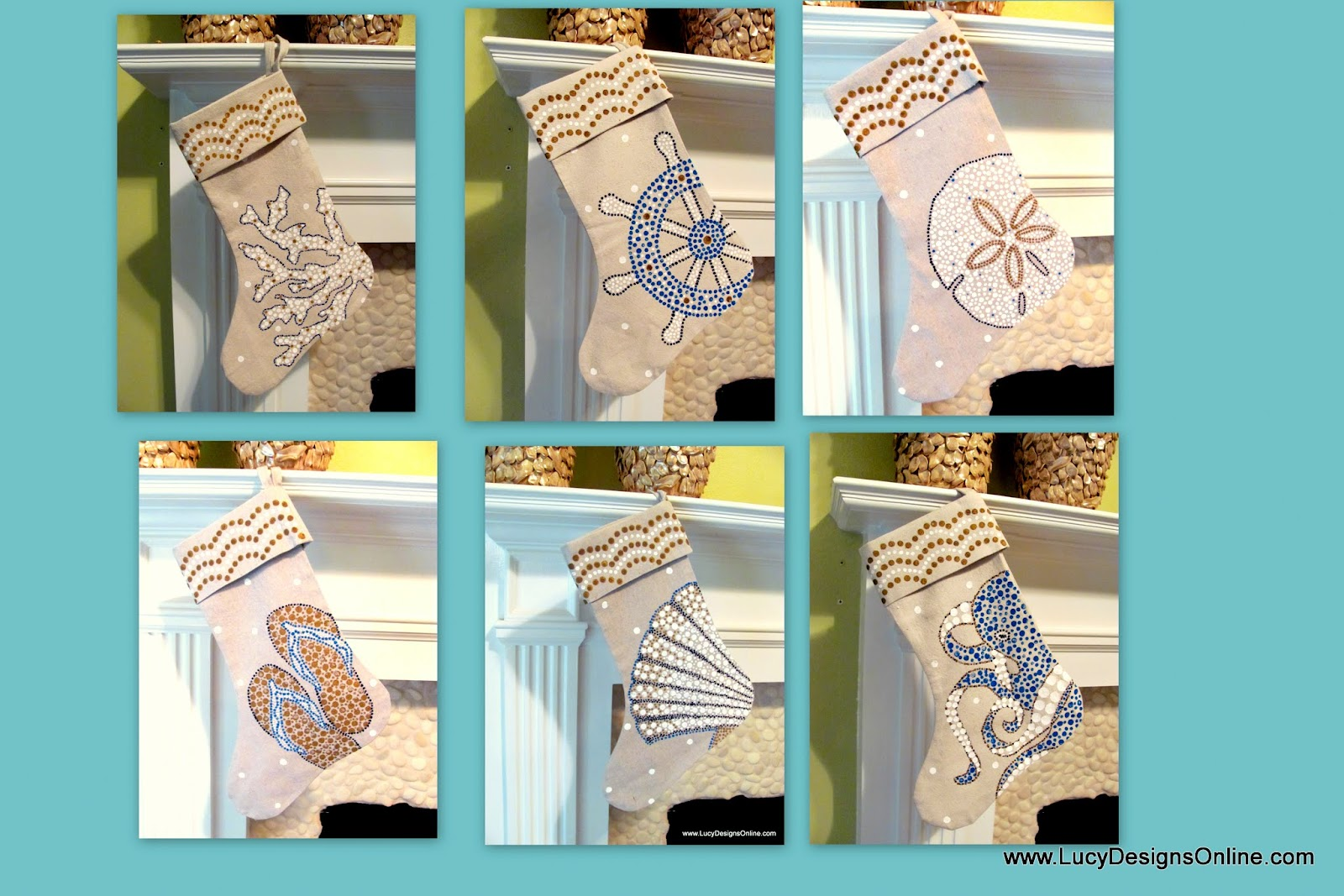 nautical, sea life christmas stockings