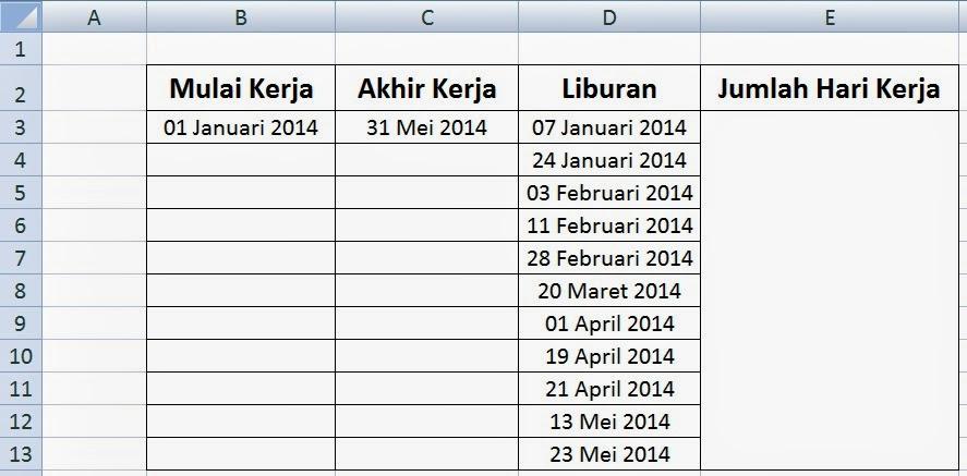 tabel jumlah hari kerja