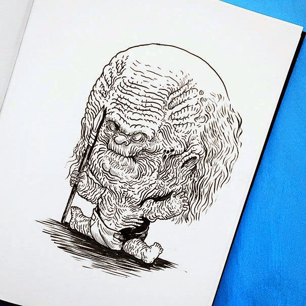 12-White-Walker-Alex-Solis-Baby-Terrors-Drawings-Horror-Movie-Villains-www-designstack-co