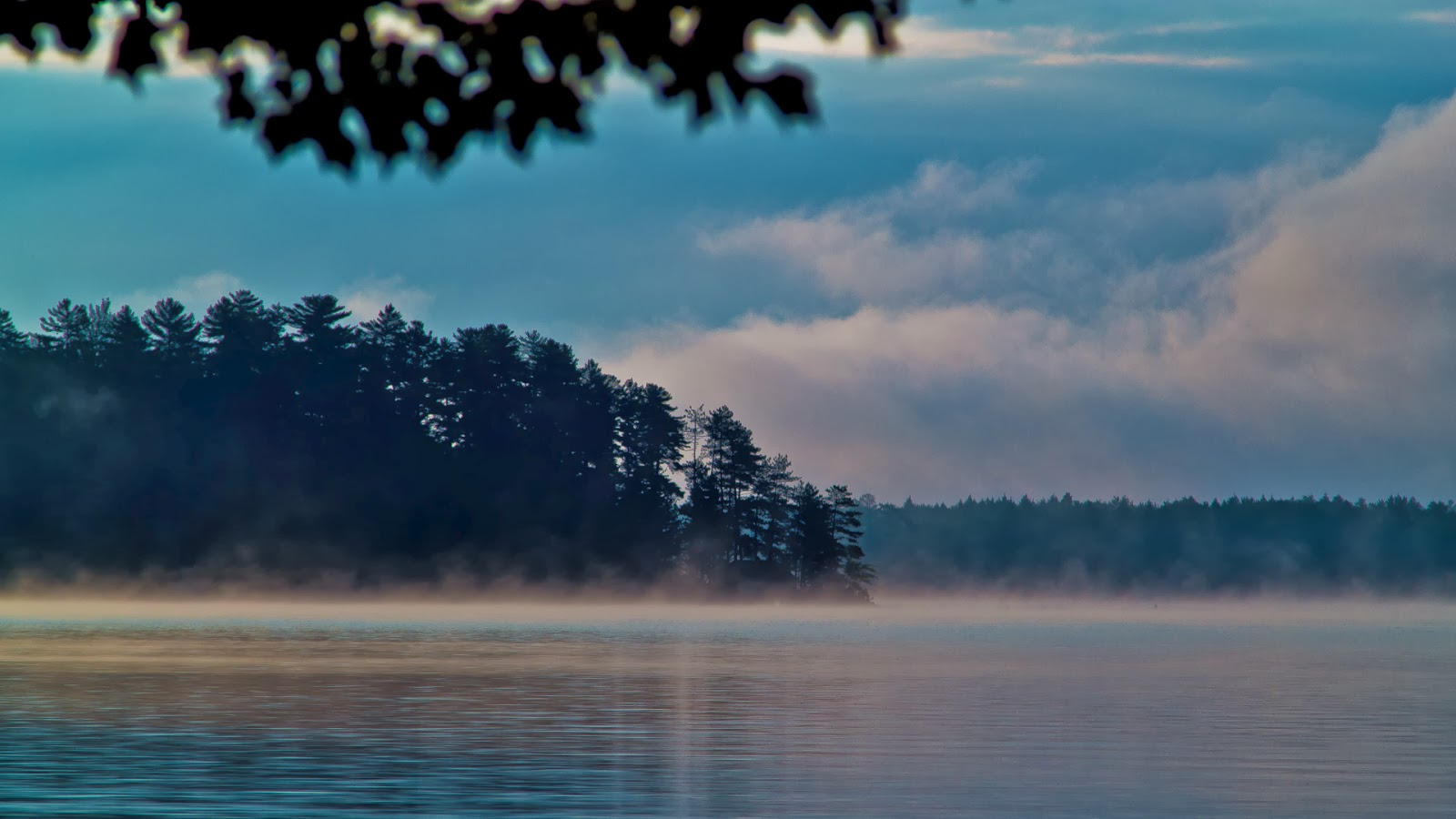 A still image of a stock video clip that shows footage of a lake in the morning with mist on the water
