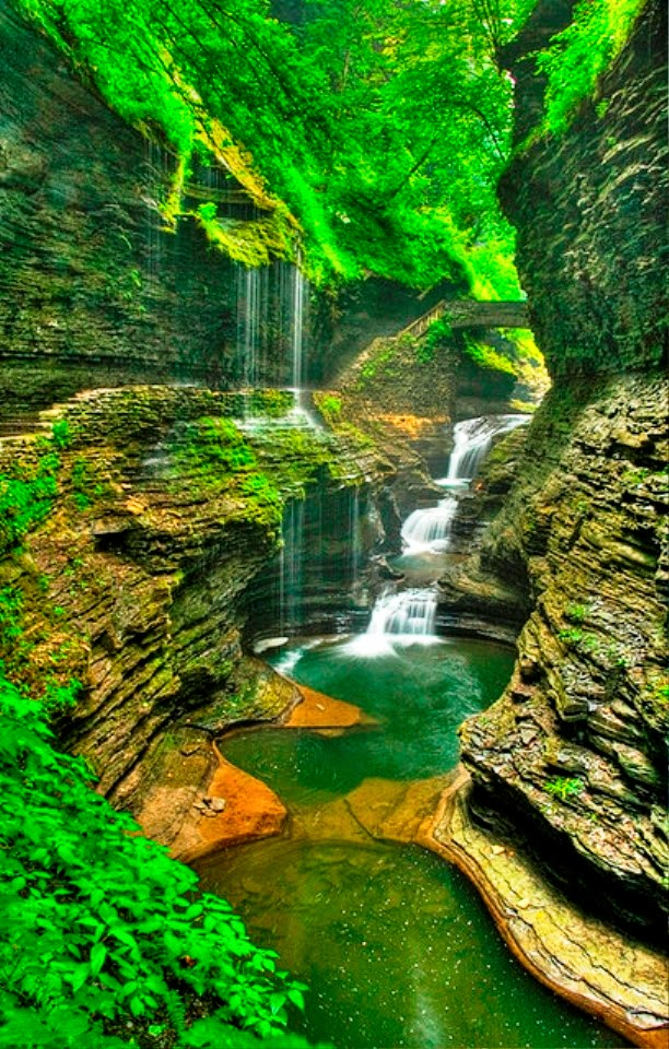 Rainbow Falls in Watkins Glen State Park, New York, USA