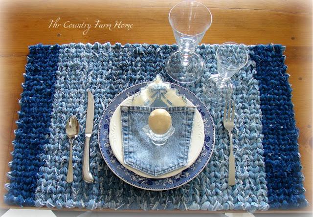 The Country Farm Home Denim Rag Rug On The Farmhouse Table