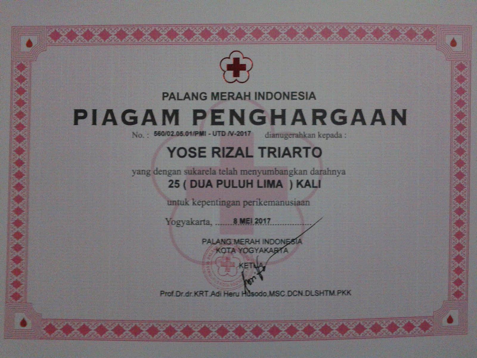 Donor Darah 25x PMI Kota Yogyakarta