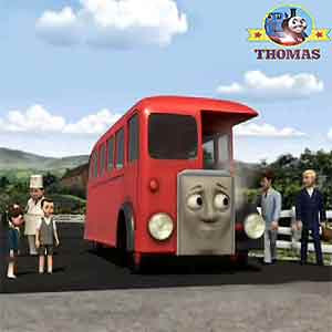Little cherry red Bertie the bus engine had overheated Thomas train railway crossing white bar gates