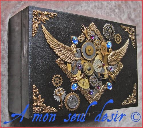 Boite ou Coffret à Bijoux Steampunk Rouages mécanisme ressort cadran montre mécanique horloge gears wheels clockwork watchwork watch parts jewelrybox