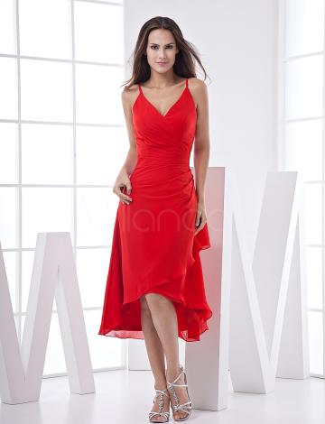 Fashion V-cou genou longueur mousseline de soie longue en arrière court en robe