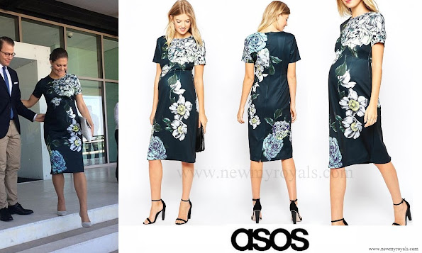 Crown Princess Victoria Style ASOS Maternity Placed Floral Scuba Midi Bodycon Dress.