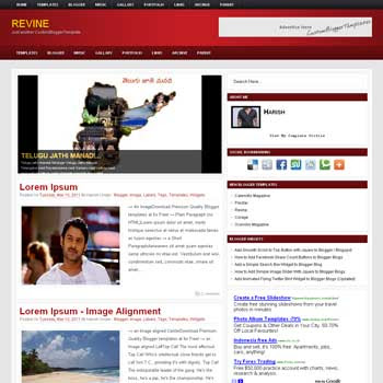 Revine blog template. template image slider blog. magazine blogger template style. wordpress them to blogger template